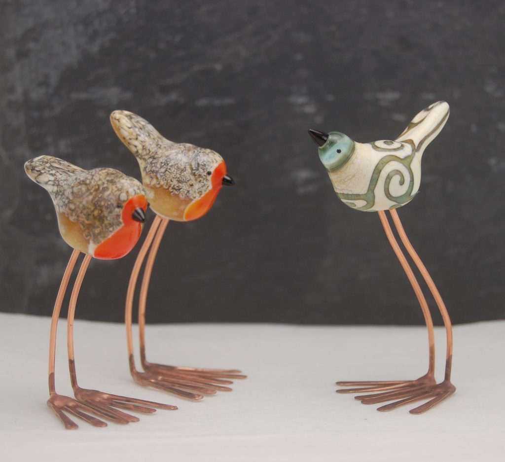 Lampwork Bird Sculpture by Louise Nelson Glassdaft