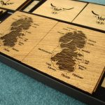 Coasters - Isle of Arran and Hairy Coo in solid oak by SK Laser Designs
