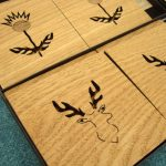 Coasters - thistle and stag in solid oak by SK Laser Designs