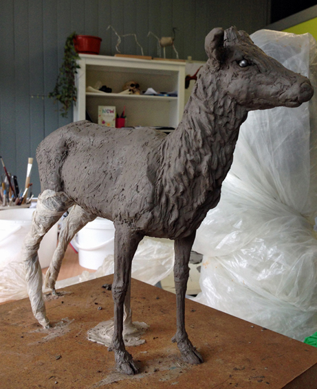 Stag, modelling in clay, Frances Clark