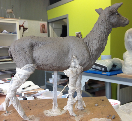 clay stag Frances Clark Sculpture