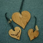 Hearts in solid oak by SK Laser Designs
