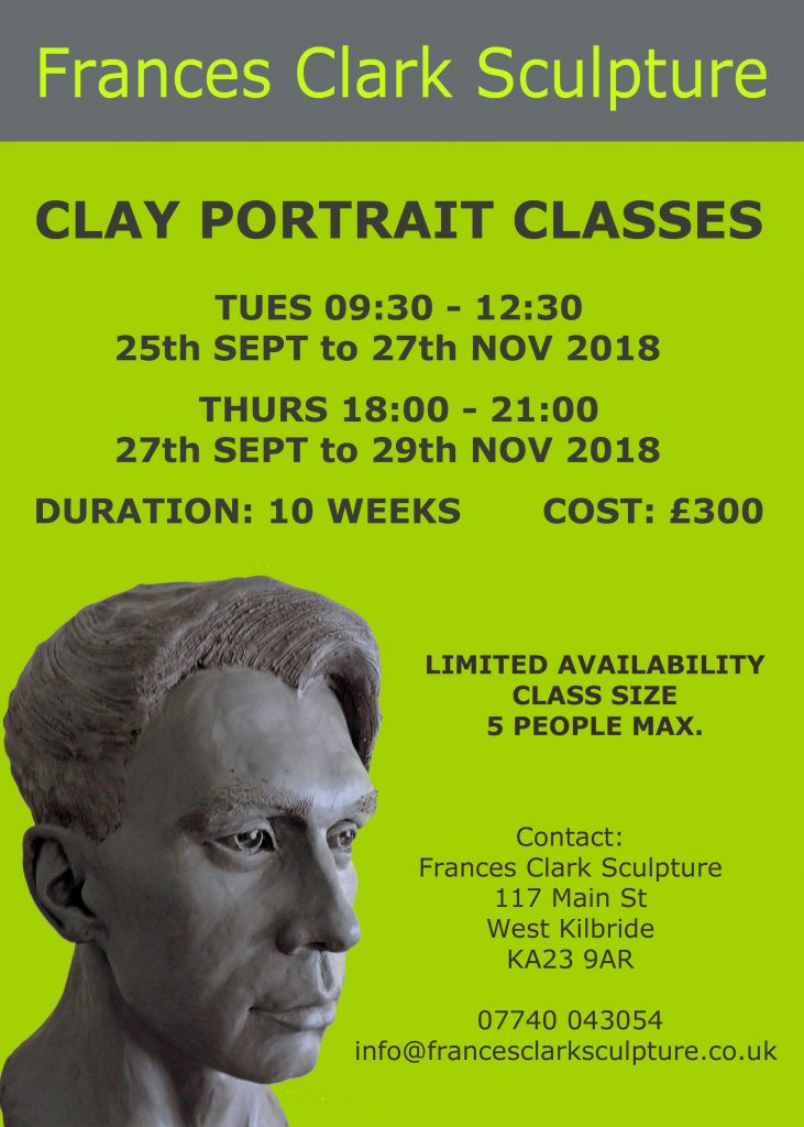 Clay portrait classes Frances Clark