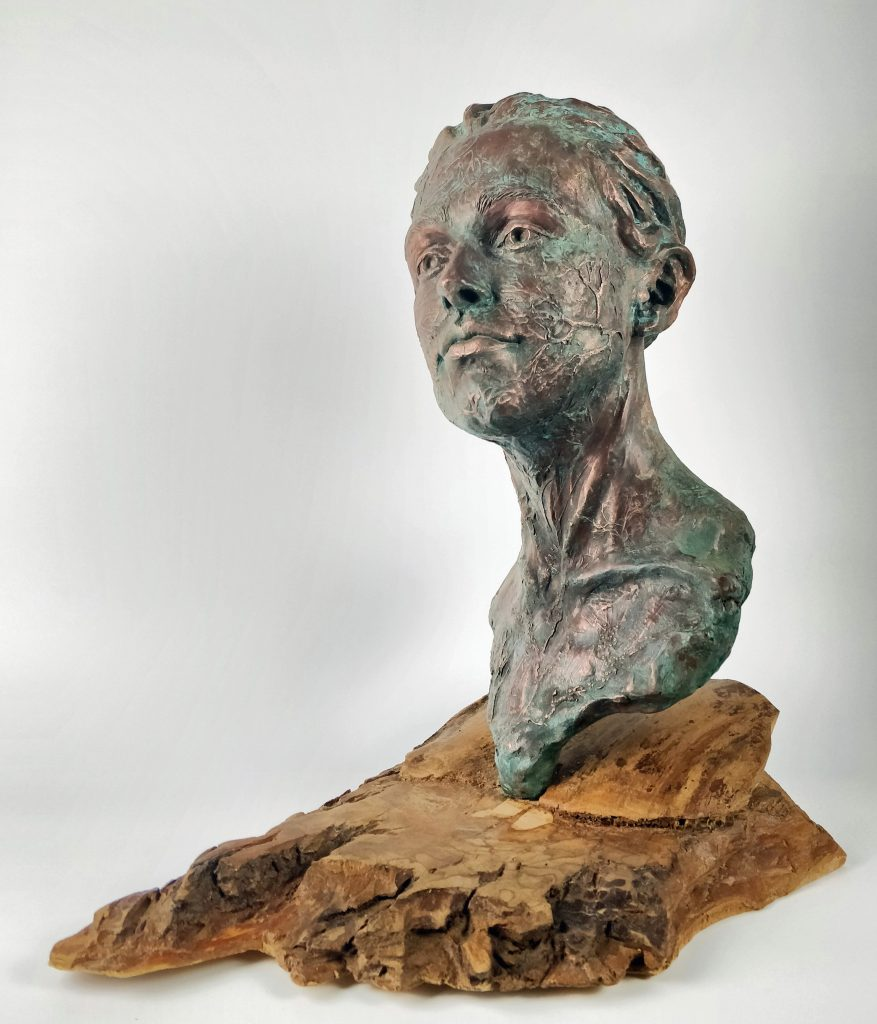Frances Clark Sculpture, Sea Imp, copper resin, verdigris finish