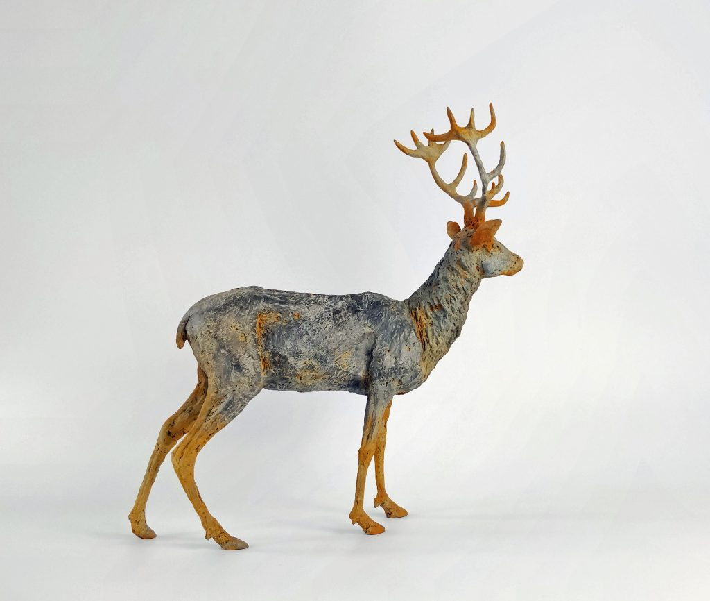 Frances Clark Iron Resin Stag Sculpture rusted 4 of 10