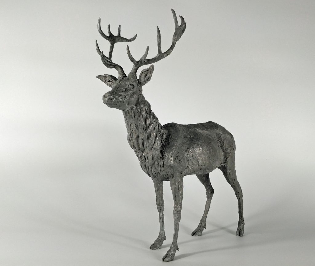 Frances Clark Aluminium Resin Stag Sculpture 3 of 10