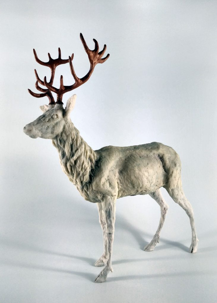 Frances Clark Resin Stag Sculpture with Copper Resin Antlers 8 of 10