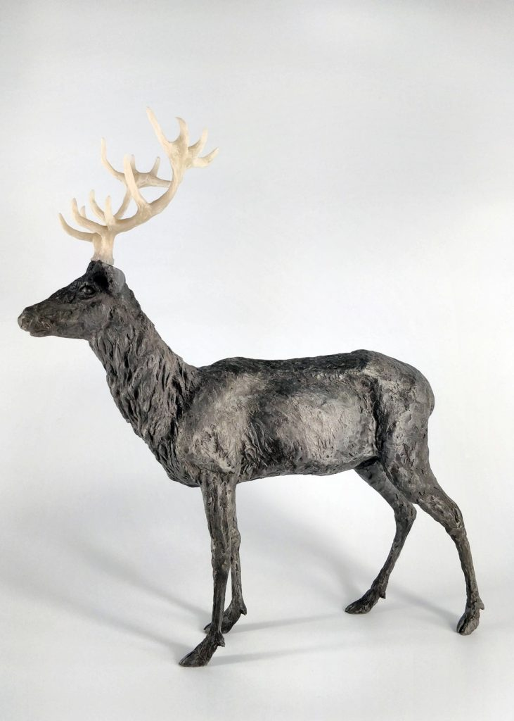 Frances Clark Iron Resin Stag Sculpture with Resin Antlers 9 of 10
