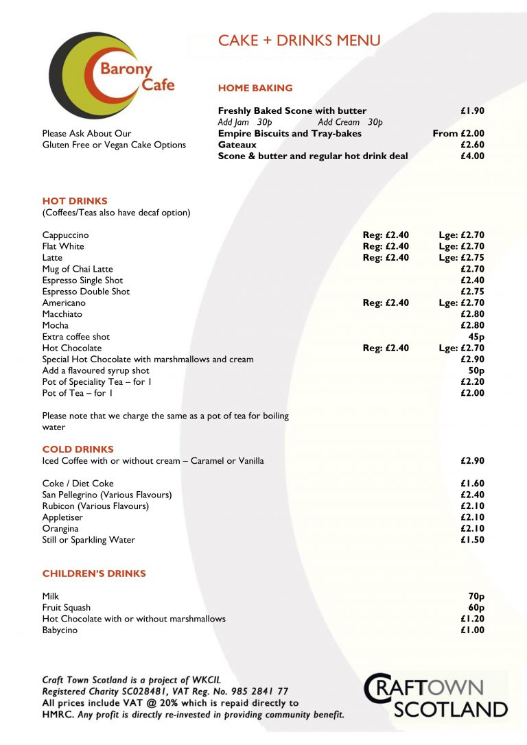 Barony Cafe Drinks and Cake Menu