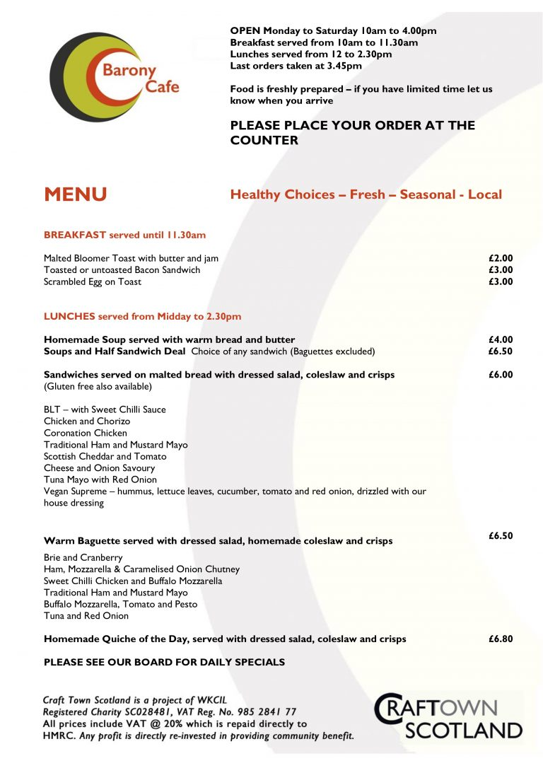 Barony Cafe Menu Meals Jan 2019