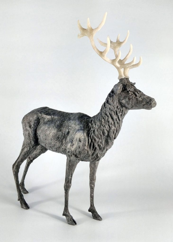 Frances Clark Iron Resin Stag Sculpture with Rusted Iron Resin Antlers 10 of 10