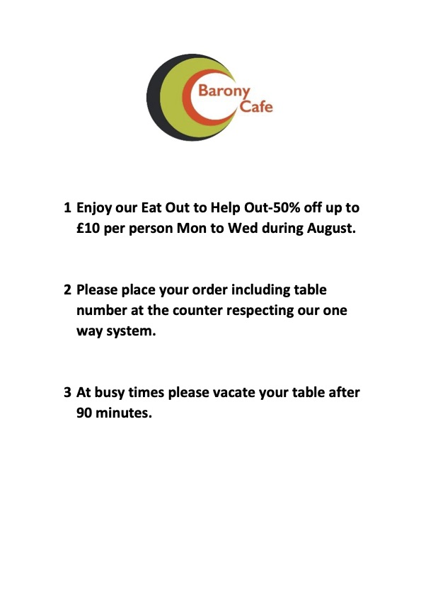 Barony Cafe August 2020