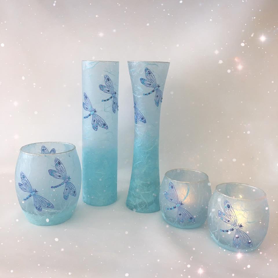 Vases and Tea-light Holders by The Glass Craft Studio