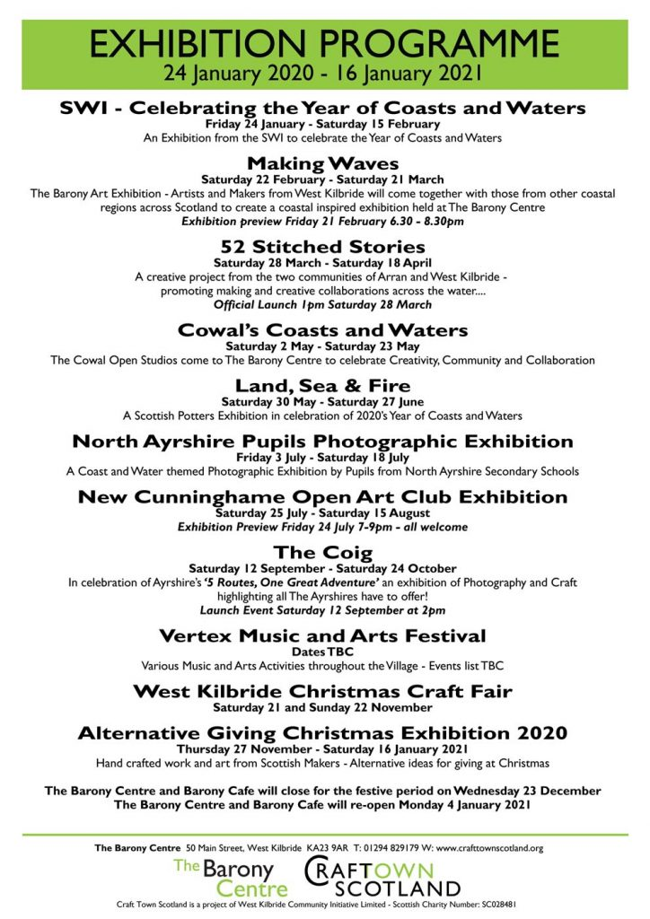 Craft Town Scotland Exhibitions 2020
